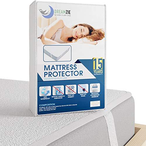 Dreamzie Matratzenschoner Wasserdicht 180 x 200 cm | Wasserundurchlässige Matratzenauflage | Atmungsaktive Baumwolle Matratzenauflage | 15 Jahre Garantie