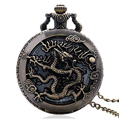 GZHDN Taschenuhr Vintage Watch chinesische Halskette Zodiac Hollow Dragon Uhren Frauen Männer Quarz Dragonfly Pocket Watch Anhänger Halskette Geschenke