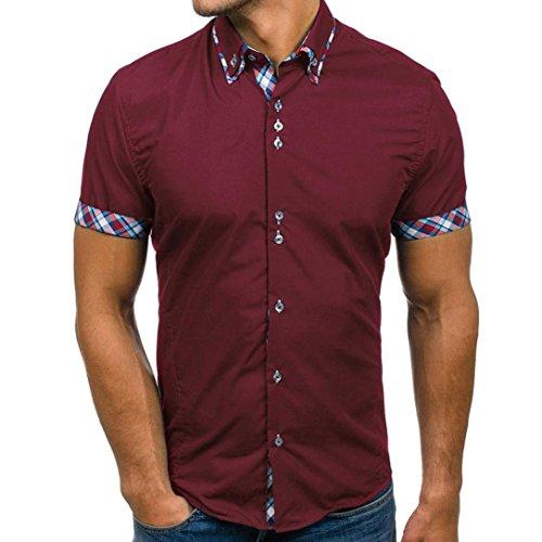 TEELONG Herren Sommer Doppelkragen Slim Patchwork Kurzärmlige T-Shirt Top Bluse Kleidung Baumwollshirt Sweatshirt Longshirt Sommerkleid Tunika Hemd Weste(M, Weinrot)