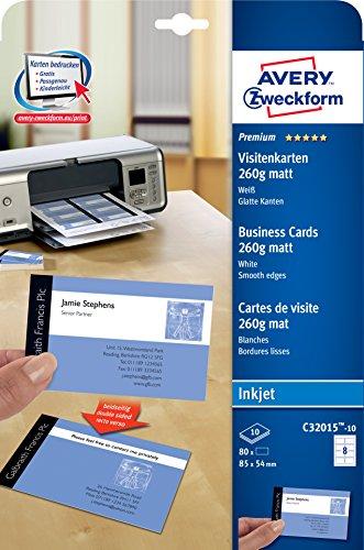 Avery Zweckform, C32015-10, 10 Blatt, Visitenkarten, Inkjet spezialbeschichtet, matt, weiß, 260 g schnittglatte Kanten durch Quick & Clean-Technologie