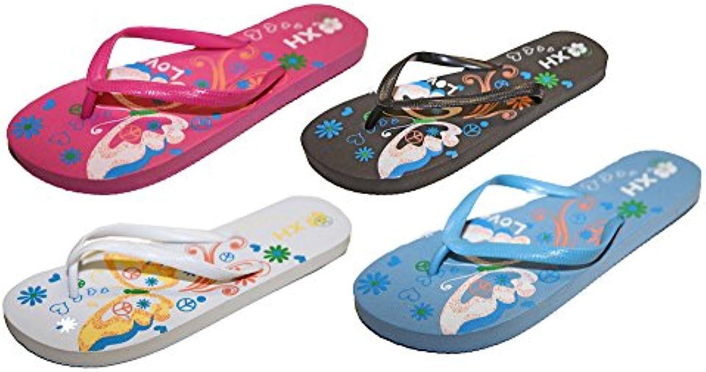 Pierre-cedric Pack 2 Paare Latschen Sandalen Flip Flops Füße Nackt Frau Frieden und Liebe Urlaub
