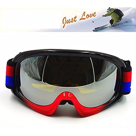 ZHGI Gafas de esquí de montaña deporte lentes espejo gafas de esquí gafas de esquí de nieve rojo mate,D
