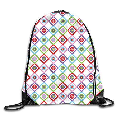 EELKKO Drawstring Backpack Gym Bags Storage Backpack, Abstract Squares with Flowers Spring Summer Blooms Nature Revival Patchwork Print,Deluxe Bundle Backpack Outdoor Sports Portable Daypack