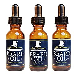 Premium Beard Oil and Conditioner for a Softer, Itch Free Beard - Variety Pack of 3 - 1 oz Bottles - Handmade with High Quality Carrier and Essential Oils that Offer Important Vitamins and Nutrients