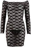 Cotelli Collection Party - figurbetontes Spitzenkleid für sie, sexy Kleid mit langem Arm, eng anliegendes, schulterfreies Minikleid, schwarz