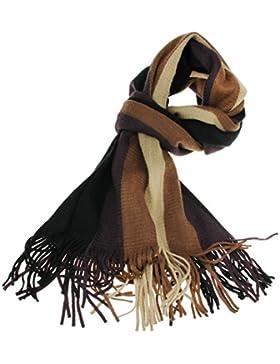 BXT Herrenschal Freizeit Gestreifter Schal, Modisch Wolle Strickschal mit Fransen, Weiches Material Wärmehaltung