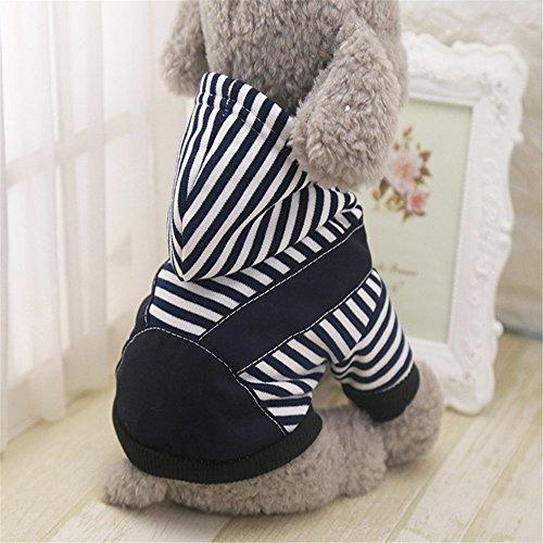 EgBert Haustier Hund Winter Baumwolle Clothes Warm Soft Straps Stripe Color Hoodie Coats Mit Hut In Aller Größe - Schwarz - S