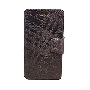Jo Jo Cover Krish Series Leather Pouch Flip Case With Silicon Holder For IBall Andi 5-E7 Dark Brown