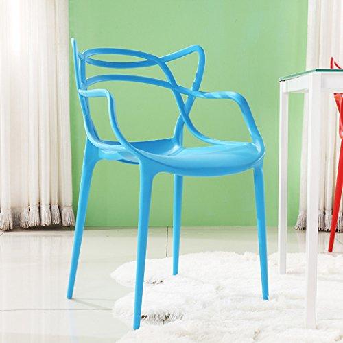 Zähler Höhe Tisch Hocker (CKH Kunststoff Stuhl Europäischen Sessel Modernen Minimalistischen Restaurant Schreibtisch Verhandeln Casual Make-Up Stuhl Maniküre Stuhl Kreative Hocker (Color : Blue))