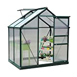 Outsunny Clear Polycarbonate Greenhouse Large Walk-In Green House Garden Plants Grow Galvanized Base Aluminium Frame w/Slide Door (6ft x 4ft)