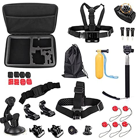 Develop GoPro Accessories Kit Premium Set for GoPro Hero4 Session Hero 4 Silver Black Hero 3+ 3 2 SJ4000 SJ5000+: Head Strap Mount +Chest Harness +Wrist Mount +Extendable Handheld Monopod with Tripod Mount