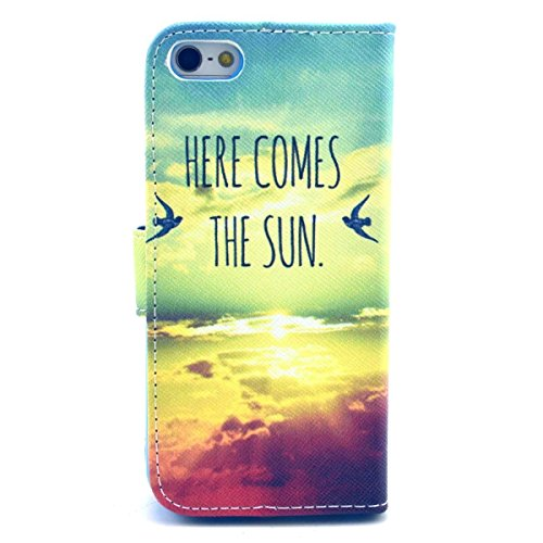iPhone SE Hülle Case,iPhone 5S Hülle Case,Gift_Source [Smile] [Kickstand Flip] [Card Slot] Cute PU Leder Brieftasche Hülle Case Soft TPU Hülle Case Folio Flip Hülle Case Cover für Apple iPhone SE / iP E01-25-Here comes the sun