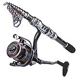 Sougayilang Juego de caña de pescar telescópica y carrete de pesca, 2.7m/8.86ft+WQ4000