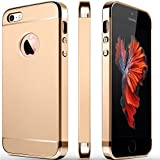 GoldKart *3-in-1 Dual Layer Thin Back Cover Case for Apple iPhone 5/5S/SE (Gold)