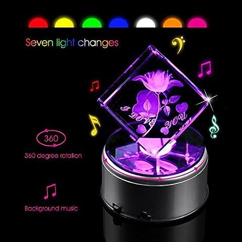 Biutee Cristal Boîte à Musique 3D Fleur Rose Cristal Gravé au Cube Rotatif Rose Lampe de Nuit avec 7 Lumières Colorées avec 18 Chansons Cadeaux de Noël pour Petite Amie Couple Mère Enfant Base de Musique