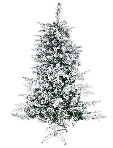 Cindio künstlicher Weihnachtsbaum / Tannenbaum, verschiedene Muster und Farben, LED, Glasfaser,60 cm, 90 cm, 120 cm, 150 cm, 180 cm (180 cm, Schnee / grün)