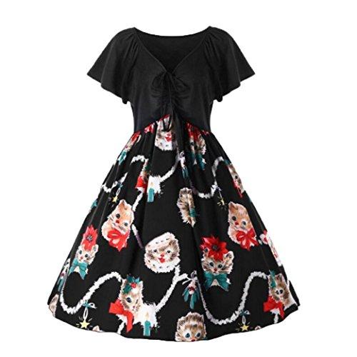 Trada Damen Bezaubernd Katze gedruckt Kurzarm Party Cocktail Kleid Damen Elegant Straped Eine Linie Jahrgang Swing Kleider (3XL, Schwarz) (Bewässerung Mädchen Blume)