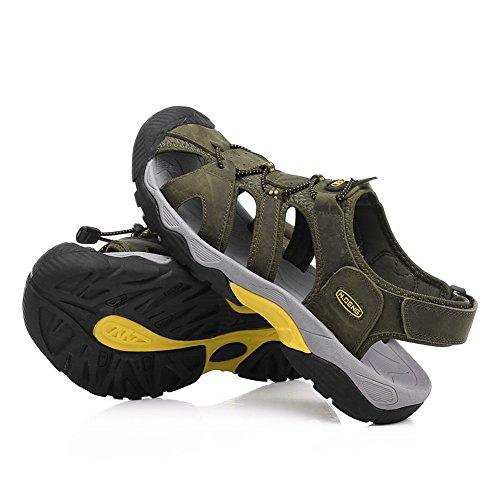 Gomnear Des sandales Hommes Été Fermé Teo Mode Pêcheur Sandale Plage Pantoufle Chaussures Avec velcro pratique Kaki