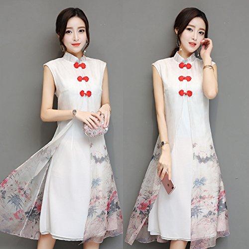 Cheongsam Sommer Chinesisch, Lange, Seide, Meine Damen, Cheongsam, Kleid, Kurze Ärmel, ROC Wind,XL