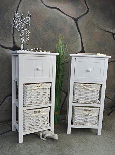 Livitat® 2 x Nachttisch Nachtschrank Landhaus Weiß 2 Körbe Nachschränckchen Nachtkommode LV1083