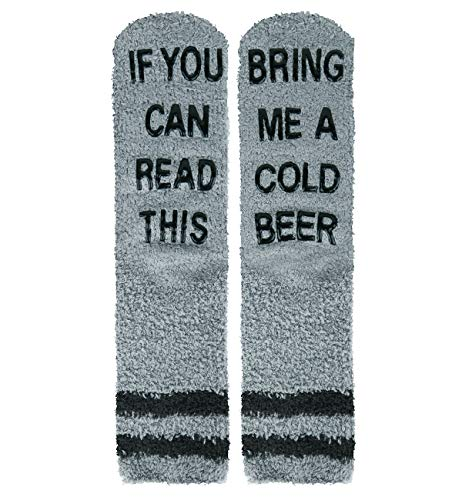 Happypop Slipper Socks If You Can Read This Fuzzy Crew Winter Warm Socks Bring Me Beer Thermal Socks