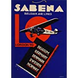 Poster, Vintageposter, Reiseplakat Belgien - Sabena London to Belgium, Germany, Denmark, Sweden, Norway (Sabena von London nach Belgien, Deutschland, Dänemark, Schweden, Norwegen), englische Aufschrift, 250 g / m², Hochglanz, Nachdruck, A3