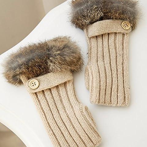 KHSKX Guanti caldi caldi pulsanti spessa striscia coniglio calda lana di pecora lavorato a maglia senza dita guanti metà donne,Beige