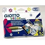 Giotto Lot de 5 Marqueurs métallique, Couleurs Assorties, Feutre à Pointe de 4mm, pour déco Multi Surface