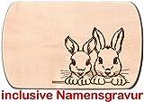 Frühstücksbrettchen Kaninchen Holzbrettchen Hasen 24 x 15 cm aus einem