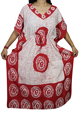 "Indiatrendzs Women Caftan Dress Cotton Sleepwear Kimono Batik Kaftan Nighty 56"" (Red)"