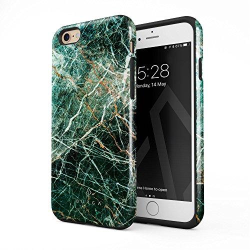 BURGA Hülle Kompatibel mit iPhone 6 Plus iPhone 6s Plus Grün Smaragd Juwel Marmor Muster Green Marble Robustes Stoßfestes Doppellagiges Hardcase + Silikon Handyhülle Case Cover