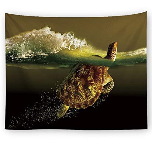 Schildkröte Grün Wolle (XIAOBAOZIGT Tapestry Wall Hanging Tapisserie Malerisches Meer Wandbehang Grüne Schildkröte Und Spray 3D-Picknickdecke Für Den Digitaldruck Am Strand Zelt-Reisematte Heimtextilien 150 × 100 cm)