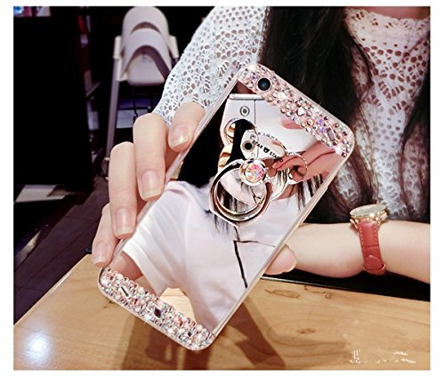 iPhone 6 Hülle iPhone 6S Hülle,iPhone 6S Case,EMAXELERS Hart Plastik Schutzhülle Hülle Case Cute Cherry Blossom Rabbit Muster Hart Transparente Clear Cover Silver Pink Animals Series Sparkles Diamant  U Mirror TPU 5