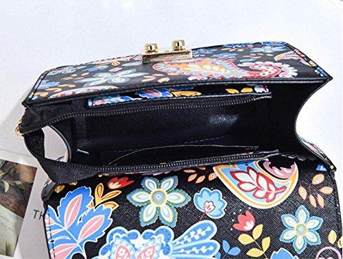 FZHLY Nuova Versione Coreana Del Piccolo Quadrato Messenger Bag Catena Stampata Borsa A Tracolla,Green Black