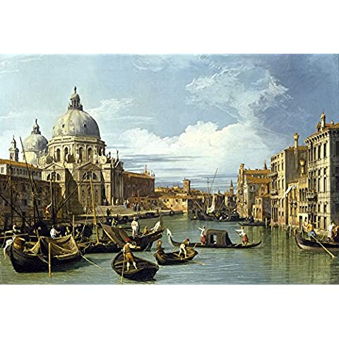 Canaletto la entrada a la Grand Canal Venecia Vintage Fine Art Print, papel brillante/papel, Up to 297mm by 420mm or 11.7