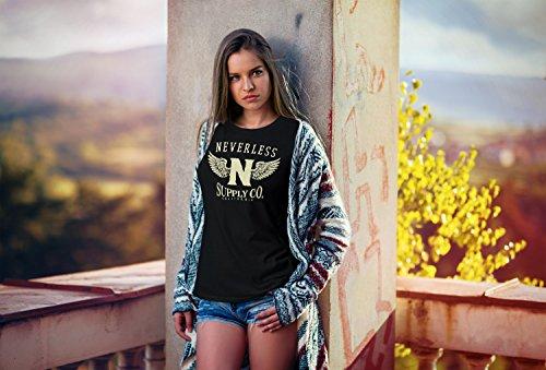 Neverless Damen T-Shirt Adler Wings Slim Fit Adler schwarz-gelb