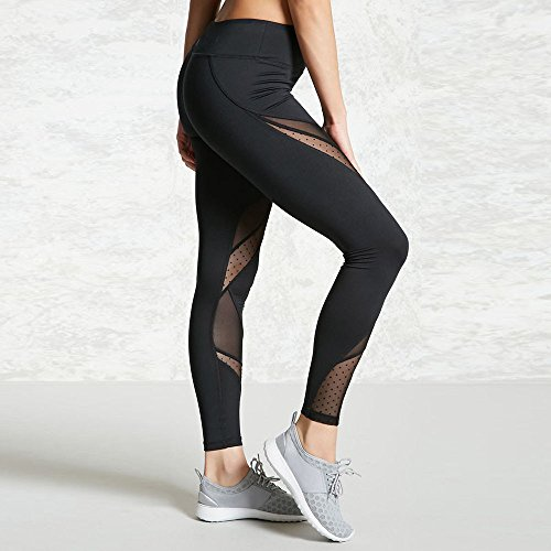 Lilicat Femmes Net Fil Couture Point Noir Haute Taille Yoga Fitness Leggings en Cours DExécution Gym Stretch Sports Pantalons Pantalon S-XL Black