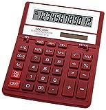 Citizen SDC-888X Taschenrechner, für die Hosentasche, Finanzrechner, 12Ziffern, 1Zeile, batterie- und solarbetrieben, Rot