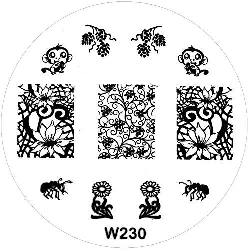 stamping-de-plantilla-w-de-230-w230-enredaderas-flores-hormiga-nenufar-mono-monito-