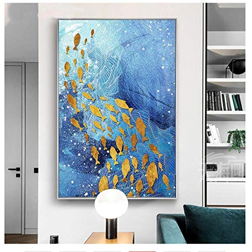 Style nordique Bleu Huile Toile Peinture Or Feuille Poisson...