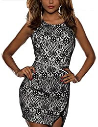 Lace Over Sexy Bodycon Dress- Black