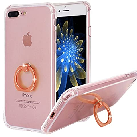 iPhone 7 Plus Case with 360 Degree Rotating Ring Holder, Yoowei® Anti-slip Crystal Clear Ultra Thin Soft Silicone Gel Ring Stand/Kickstand cover for iPhone 7 Plus 5.5