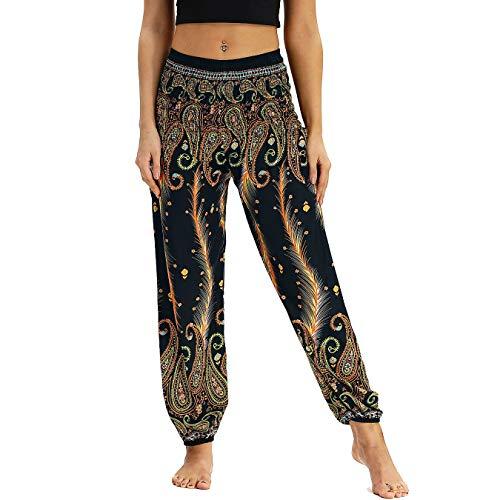Nuofengkudu Donna Pantaloni Harem Vita Alta con Tasconi Thai Bohemian Cartamodelli Larghi Eleganti Estivi Danza Yoga Pants Spiaggia Vacanza Oro Pavone