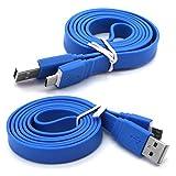 Huawei P8 lite Höchste Qualität 1m superschnelles flaches Anti-Tangle-USB-Datenkabel - Ladekabel - Daten-Synchronisierungskabel - Datenübertragungskabel - Blau / Blue - Von Gadget Giant®
