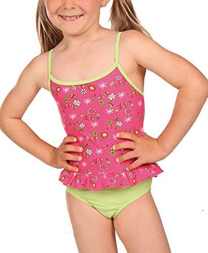 eleMar Mädchen Badeanzug, Flamingo-Hellgrün, 116, 4-026-07B