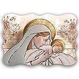 Deco Italia Quadro Sacro su Pannello di Legno maternità - Maternity Ceramic Flower Brown | 42 x 29 cm