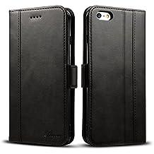 """Coque iPhone 6 plus/6s plus Housse - Rssviss Etui en Cuir Flip Case pour iphone 6 plus/6s plus [4 emplacements pour cartes et monnaie] avec [Fermeture magnétique] iPhone 6 plus/6s plus coque rabat 5,5 """" Noir"""