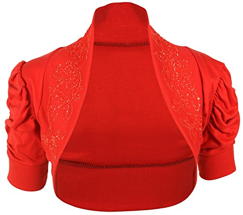 Chocolate Pickle ® Femmes Plus Size Sequin perles Bolero Cardigan Tops 36-54 Rouched Red