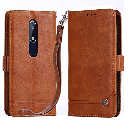 Custodia a Portafoglio per Nokia 6.1 Plus, Custodia Nokia X6 2018, Custodia a 3 Tasti con Supporto Magnetico in Pelle per Nokia X6 2018/6.1 Plus (Brown)