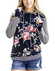 Rayas Camisetas de manga larga con capucha Sannysis sudaderas mujer largas deportiva Impresión floral